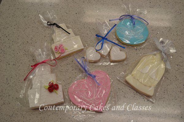 Wedding cookies in assorted shapes and designs