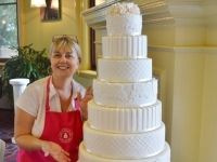 Wedding cake finally assembled with Jackie Thompson of Contemporary Cakes and Classes.