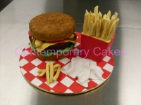 Hamburger cake and chips Contemporary Cakes and Classes Brisbane