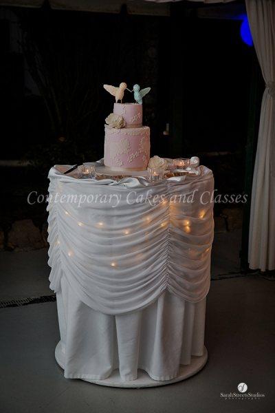 Double barrel cake with handmade love birds 2