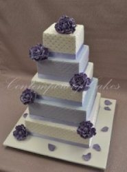 5 tier square stacked wedding cake