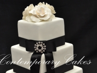 3 tier square stacked wedding cake Brisbane Contemporary Cakes