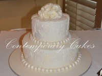 2 tier round stacked wedding cake Brisbane Contemporary Cakes