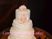 3 tier ruffles and roses wedding cake Contemporary Cakes Brisbane