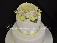 Large open peony rose wedding cake