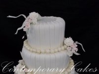 3 tier tapered and roses wedding cake Contemporary Cakes Brisbane