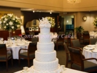 Wedding Cake 6 tier with rose ruffled and pearl quilting