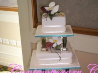 3 tier square wedding cake Brisbane Contemporary Cakes