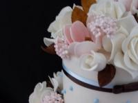 Double barrel stacked wedding cake Brisbane Contemporary Cakes
