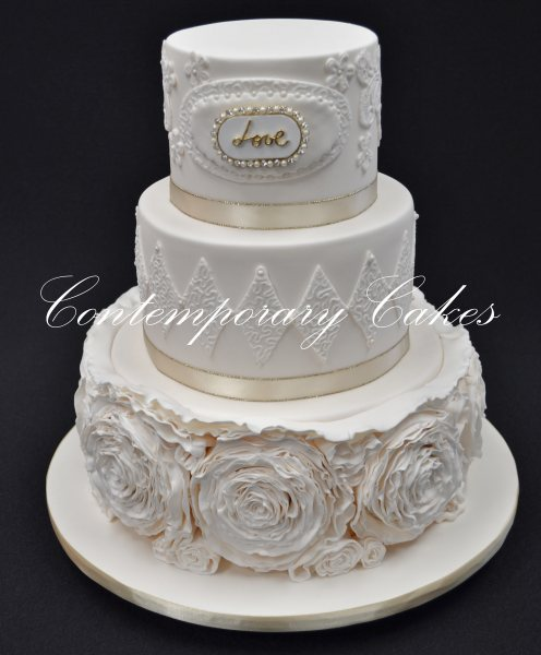 Ruffled roses wedding cake