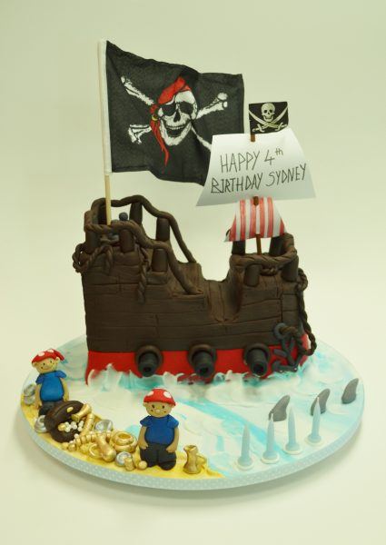 Pirate ship party cake Brisbane contemporary Cakes and Classes