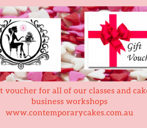Gift Vouchers for Cake Decorating and Baking Classes and Cake Coaching workshops.